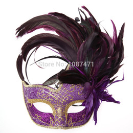 China 2018 new party masks masquerade masks halloween color ball feather mask fashion men women sexy half face masked mask Christmas cheap feathers masquerade ball suppliers