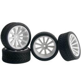 $enCountryForm.capitalKeyWord NZ - 4pcs RC HSP 601W-8007 Flat Racing Tires White Wheel Rim Fit 1:10 On-Road Car