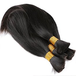 $enCountryForm.capitalKeyWord UK - Brazilian Silk Straight Human Hair Bulk Braiding No Weft Natural Black Color 3 pcs Super Double drawn Brazilian Virgin Hair