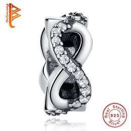 Chinese  BELAWANG Wholesale Infinity Symbol Beads 925 Sterling Silver Clear CZ 8 Shape Charm Beads Fit Pandora Original Bracelet&Necklace DIY Jewelry manufacturers