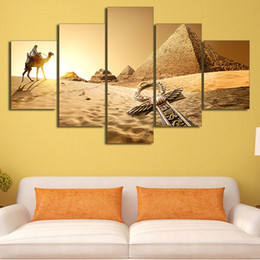 $enCountryForm.capitalKeyWord NZ - 5 Pcs Set Framed HD Printed Egypt Pyramid Of The Desert Picture Wall Print Poster Canvas Oil Painting Cuadros Decorativos