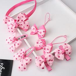 Gum Hair Australia - 1 set=7pcs Bow Baby Girls Headwear Sets Headband Hairpins Child Accessories Hairband Gum for Hair Hair Clip Barrettes