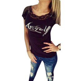 winged tops Canada - Wholesale-Women T shirt Back Hollow Angel Wings Printed Sexy Tops Lace Short Sleeve Tees T shirts Hot