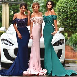 Satén Azul Verde Vestidos Formales Baratos-New Blushing Pink Green Blue Sexy Sirena Formal Largo Off The Shoulder Satin Lentejuelas Vestidos de Dama de honor Tren Vestidos de Fiesta de Bodas 2017