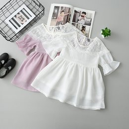 Robe Princesse Violet Enfants Pas Cher-2017 Baby Girls Lace Tassels Princesse Robe Spring Summer Kids Flare Sleeve Cool Sweet Dress Enfants Robes Vêtements Blanc Violet 13095