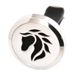 China Horse 30mm Aromatherapy Essential Oil surgical Stainless Steel Pendant Perfume Diffuser Car Lockets Include 50pcs Felt Pads suppliers