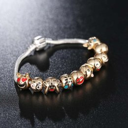 cute cartoon charms Australia - 1 Pcs Charm Emoji Bracelet Gold Plated Beads DIY Bracelet Cartoon Animal Cute Expression Bracelets Bangles Women Christmas Gifts Free Shippi