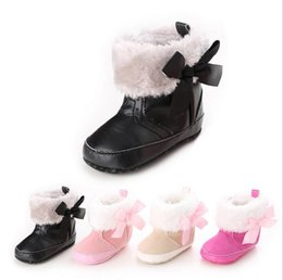 Discount toddler snow shoes - 2016 Winter Fluffy Bow Princess snow boots!warm baby shoes,0-18 M soft kids shoes,high top toddler snow shoes!6pairs 12p