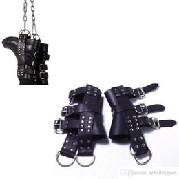 Sex Boots NZ - Adult Sex Bondage Leather Feet Restraint Suspension Boot Cuffs   Leather Foot Binders for BDSM Suspension Play Sex Products