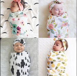 $enCountryForm.capitalKeyWord NZ - Infant Baby Boys Girls Muslin Blanket +Headband 2Pcs Outfits Newborn Baby Soft Cotton Cocoon Sleep Sack Two Piece Set Sleeping Bags