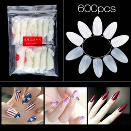 Uñas Naturales Baratos-Nuevo 600 unids Natural False Nail Tips Sharp Full Nail Fake Tips 10 Tamaño Acrílico UV Gel Nail Art Tips Manicura Práctica Herramientas 2017