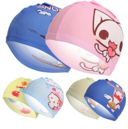 Barato Venda Por Atacado Para Capas De Desenhos Animados Para Crianças-Atacado mais novo Cartoon Child Caps de natação 2016 Kids Boy Girl à prova de água protege as orelhas Sports Swim Hat Bathing Cap