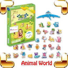 animal world toys NZ - New Arrival Gift Letter Animal World And Others 3D Model Cartoon Model Puzzles Kids Education Learning Toy Textbook DIY Handwork Game