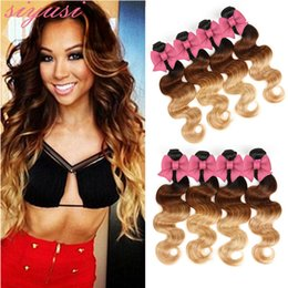 Discount red bundles 28 inch hair - Peruvian Hair Bundles 1B 27 1B Red 1B 30 Blonde Human Hair Weave Two Tone Weaves Dark Roots Ombre Body Wave Hair Weaves