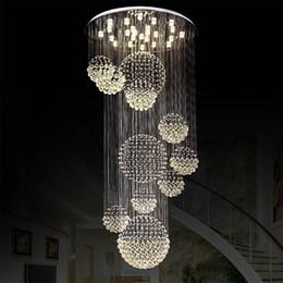 Vente en gros Lustre moderne grand luminaire en cristal pour hall d'entrée escalier escalier Foyer longue spirale lustre lampe de plafond encastré lumière d'escalier