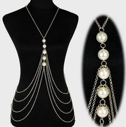 Artificial Chains Wholesalers NZ - Belly Chains Europe and United States Fashion Multi-Layer Handmade Artificial Pearl Body Chain