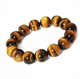 Natural Tigers Eye Bracelet NZ - New fashion 14 mm natural yellow tiger eye stone bracelet men and women section lap tiger eyes stone hand chain jewelry bangle wholesale