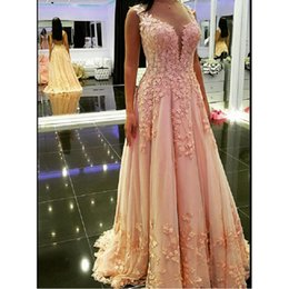 Barato Sereia Estilo Flor Vestidos De Baile-2017 Modest Pink Prom Dresses Mermaid Style Off The Shoulder Special Occasion Party Dress Appliqued Flower Chiffon Evening Gowns