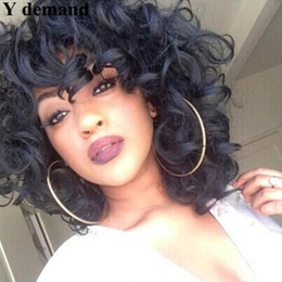 Fashion Afro Cosplay Wig Deep Wave Short BOB Black Brown Synthetic Wigs Wavy Curly Natural Hair Perucas for Black Women from short hair bob fashion synthetic manufacturers