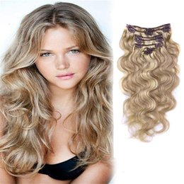 blonde hair clip ins UK - #12 613 Blonde Human Hair Clip In Extensions Brazilian Body Wave Clip In Human Hair Extensions Brazilian Hair Clip Ins