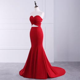 Sirène Robe Sans Bretelles Vraie Pas Cher-Sexy Red Satin Real Sample Mermaid Robes de bal 2017 Robes sans bretelles Floor Length Robes de soirée Robe de port d'événement