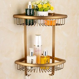 Metal Support Stands Canada - Solid & Anti-rust brass Bathroom Wall Shelf Wall-mounted Hair Dryer Rack Storage Hairdryer Support Holder Spiral Stand Holder