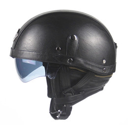 Motorcycle Half Helmets Sale NZ - 2017 HOT SALE Brown Leather Vintage Brand Motorcycle Scooter Half Face Leather Harley helmet Classic Retro brown helmets Casco & Goggles