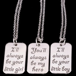 $enCountryForm.capitalKeyWord Canada - Wholesale little Girl Little Boy Hero Dog Tag Pendant Necklaces Silver Family Member Jewelry for Daughter Son Gift