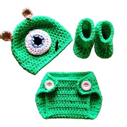 Housses De Couches De Photos Pas Cher-Nouveau-né Mike Monster Outfit, Hand-made Knitting Crochet Baby Boy Girl Monster Hat Housse Boite Set Booties, Costume d'Halloween, Prop. Photo Infantile