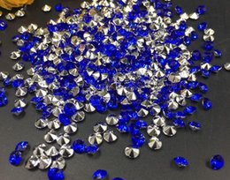 Barato Diamante Mesa Scatters Casamento-10000pcs 4mm Blue Acrylic Diamond Confetti Mesa de festa de casamento Scatters Crystal Decoration