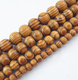 natural wood bead spacer Canada - Natural Woodgrain Round Loose Spacer Bead Jewelry Fit DIY Bracelet 6,8,10,12,14 ,16mm