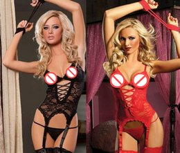 Costumes De Sexe Féminin Pas Cher-Femmes Sexy Lace Peaux exposées Bow Underwear Night Lady Sexy Lingerie érotique Hot Transparent Conjoined Dress Suit Sexe