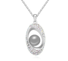 snake pearl pendant NZ - new Originality geometry Pendant SWAROVSKI element Pearl Necklace Happiness in the distance Woman Ornaments jewelry hot sale