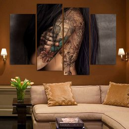$enCountryForm.capitalKeyWord NZ - Wholesale New arrival abstract naked tattoo of Buddha Canvas Wall Art Picture for living room Decoration unframed free shipping