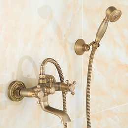 Discount Antique Brushed Brass Bathroom Faucets Quality Brass Fashion  Bathroom Shower Sets With Faucet Lift Water