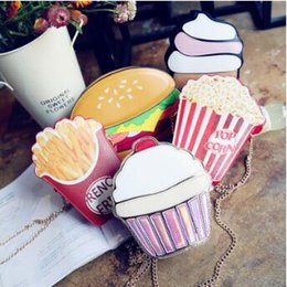 Discount single cupcake bags - 5 Styles Cartoon Ice Cream Messenger Bags PU Leather Hamburger Shoulder Bag Creative Popcorn French Fries Cupcake Handba