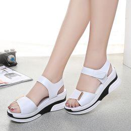 Summer Muffler Canada - 2017 summer fish mouth women's sandals slope wedge bottom high heel platform wild muffler women shoes