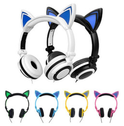$enCountryForm.capitalKeyWord NZ - Foldable Flashing Glowing cat ear headphones Gaming Headset Earphone with LED light For PC Laptop Computer Mobile Phone