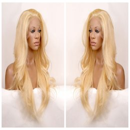 Wavy blonde hair online shopping - Long wavy hair lace front wig synthetic black hair free part heat resistant black blonde brown three combs straps