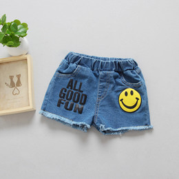 Wholesale fashion kids jeans online shopping - children summer denim shorts kids jeans with emoji smile baby girl hot pants wash blue girl s fashion trousers
