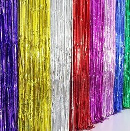 purple gold birthday party decorations Canada - Tassel Curtain Wedding Party Decorations 1m*2m Ribbon Tassel Curtain Flashing Birthday Party Wall Decoration Background Curtain