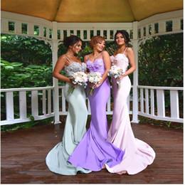 $enCountryForm.capitalKeyWord Canada - Sex Goddess Long Bridesmaid Dresses Spaghetti Sweetheart Applique Lace Top Formal Evening Gowns Ribbon Backless Prom Dress Custom Made