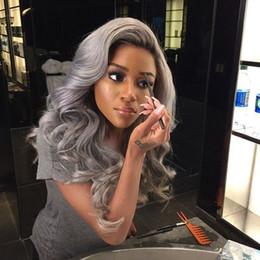 $enCountryForm.capitalKeyWord Australia - Grey Lace Front Wig Human Hair Full lace wig Silver Grey Peruvian Hair Wigs For Black Women