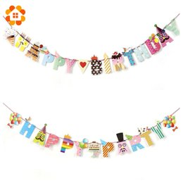 Birthday Decoration Sets NZ - 1 Set Happy Party Birthday Paper Flag Party Bell Garland Decoration Banner Bunting For Kids Birthdays Party Supplies Decorations
