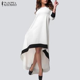 a072c4019d76 Wholesale- ZANZEA Autumn 2017 Fashion Womens Chiffon Maxi Long Dress  Patchwork Asymmetrical Dress 3 4 Sleeve O Neck Vestidos Plus Size