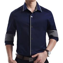 Discount Men Dark Blue Dress Shirts | 2017 Men Dark Blue Dress ...