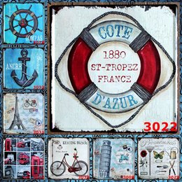 bicycle signs 2019 - Life Buoy 30X30 CM Iron Paintings Keating Bicycle Compas Metal Tin Signs Ancre Buildings License Plates Tin Posters Tuba