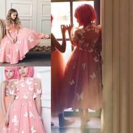 $enCountryForm.capitalKeyWord NZ - Beautiful Pink Flower Girls' Dresses For Weddings With Butterfly Flwers Handmade Girls Prom Dress Long Graduation Gown Kids