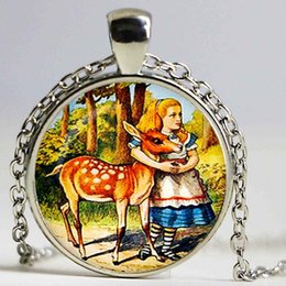Deer White Pendant NZ - Alice with the Deer Pendant. Alice in Wonderland Necklace. Illustration jewelry. Birthday gift