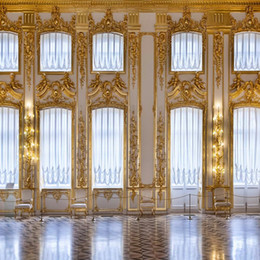 Computer photo baCkdrop online shopping - Gold Mosaic White Wall Art Photography Backdrop Bright Windows Luxury Indoor Castle Photo Studio Background x10ft